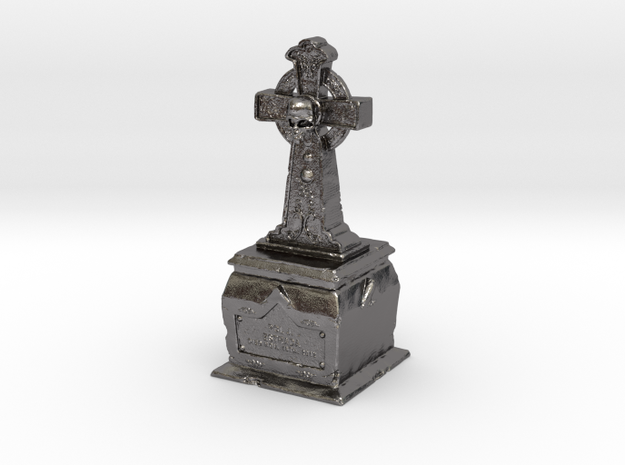 Skull Tombstone in Polished Nickel Steel