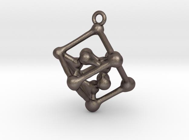 Bone cube pendant in Polished Bronzed Silver Steel