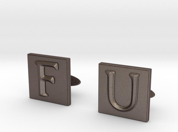 Frank Underwood Cufflinks  in Polished Bronzed Silver Steel