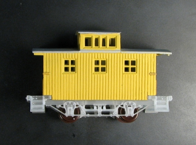 R24ab New N Chassis for Bachmann Bobber Caboose x4 3d printed R24a wood steps