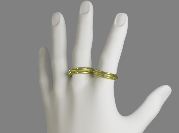 Pipe Ring - EU Size 62 in Polished Gold Steel