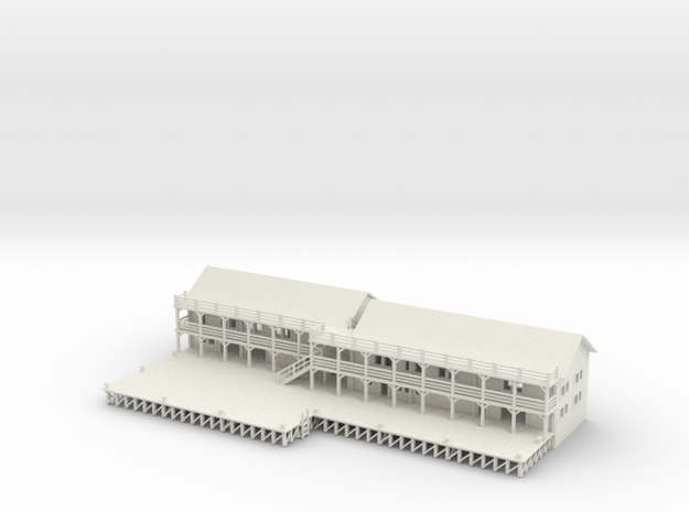 Ship Dock With Buildings 3d printed