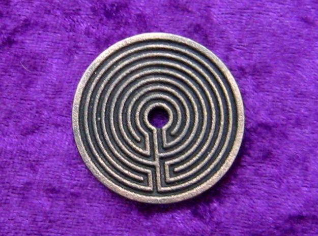 Labyrinth coin in Polished and Bronzed Black Steel