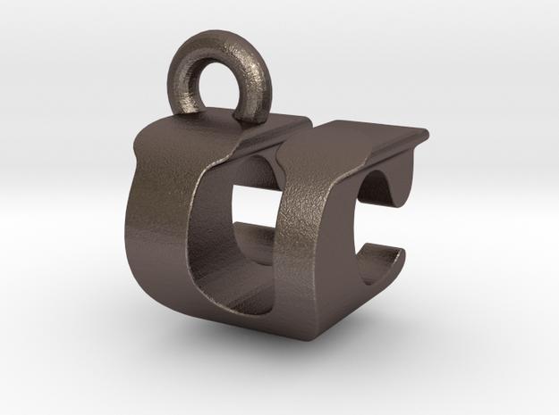 3D Monogram - UCF1 in Polished Gold Steel
