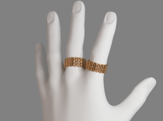 Grid Ring - EU Size 58 in Polished Bronze Steel