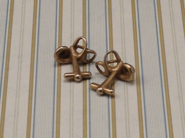 Inner Ear Cufflinks (Pair) 3d printed Material: stainless steel