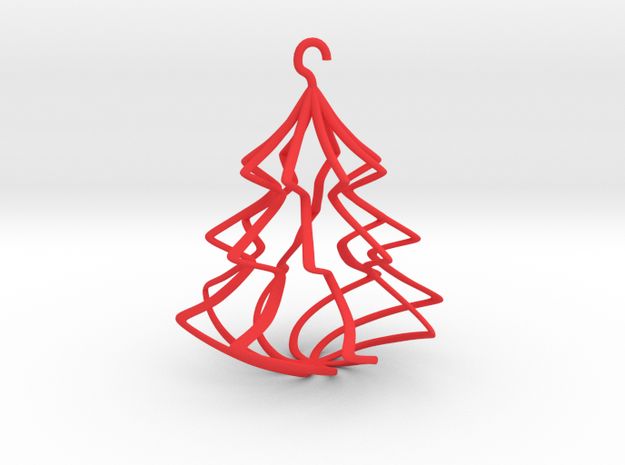 Wireframe Christmas Tree in Red Processed Versatile Plastic