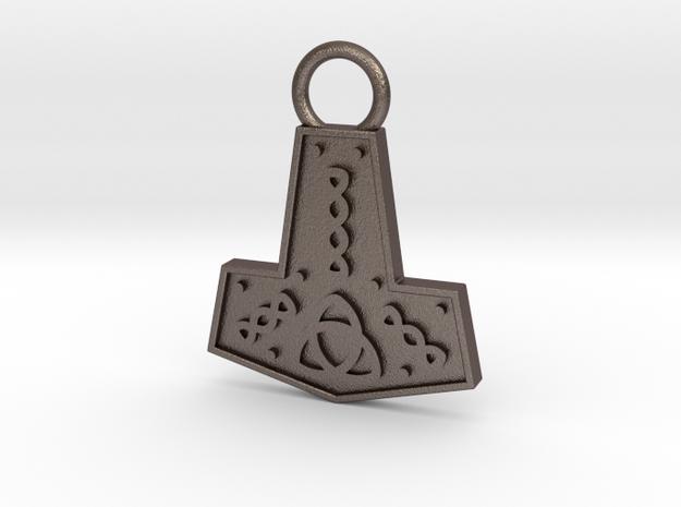 Mjolnir Pendant / Keychain in Polished Bronzed Silver Steel