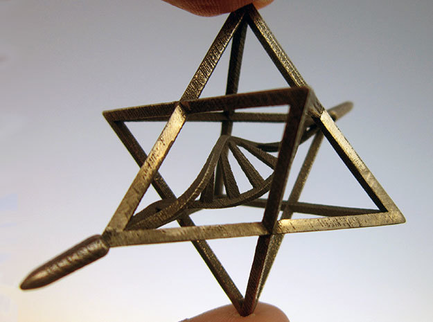 Merkaba Spinner DNA - 6cm in Polished Bronzed Silver Steel