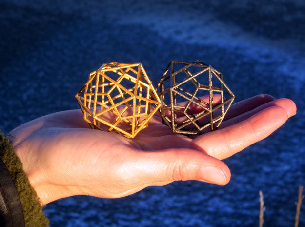 IcosoDodeca Wire Thin - 4cm 3d printed Polished Gold Steel & Stainless Steel