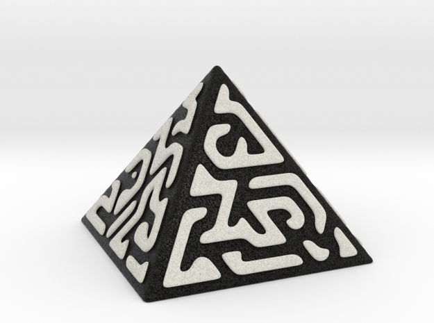 Glyph Pyramid (black + white) in Full Color Sandstone