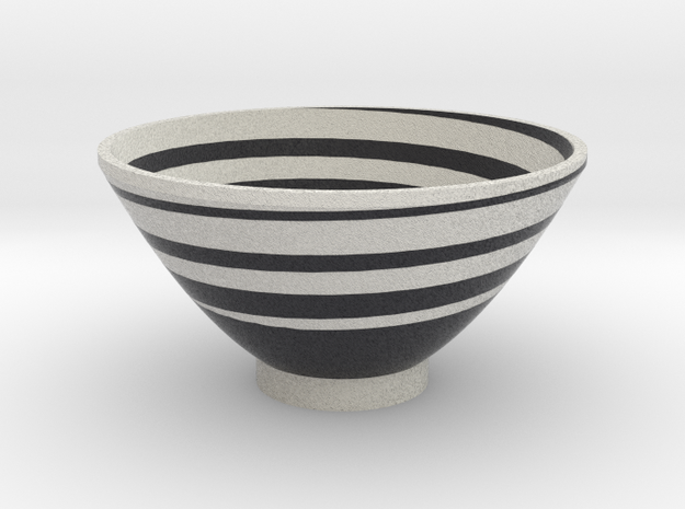 DRAW bowl - spiral black white in Full Color Sandstone