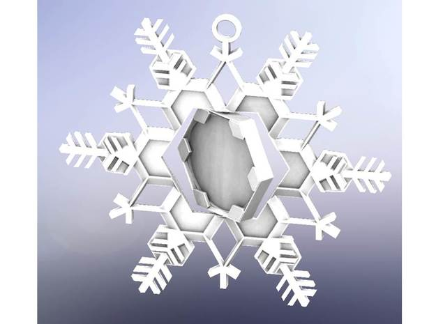 Snow Flake Ornament, Outer piece in White Natural Versatile Plastic