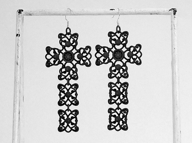 Cross pias/earring in Black Natural Versatile Plastic