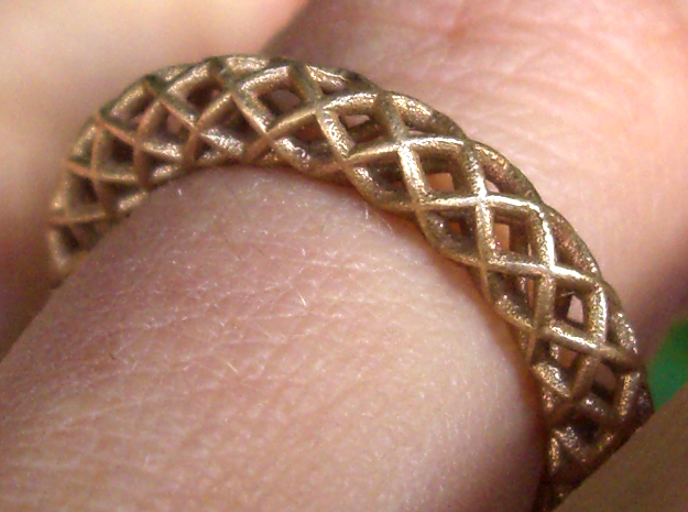 Wire mesh ring (US 6¼) in Natural Bronze