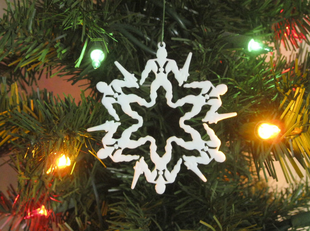 Snowflake He-Man Ornament in White Strong & Flexible