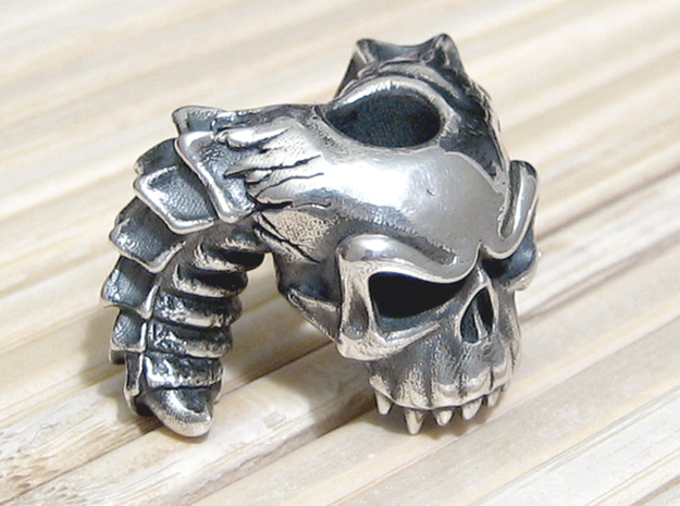 Silver Skull Bead - Demon 3d printed Standard Silver - Added Patina - Light Polish