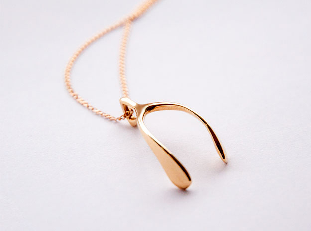Whishbone pendant in 18K Gold Plated