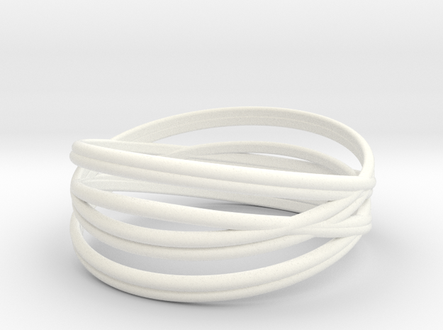 Bangle Braclet Size S in White Processed Versatile Plastic