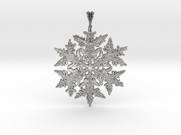 Wilson Bentley Snowflake Crystal Pendant in Polished Silver