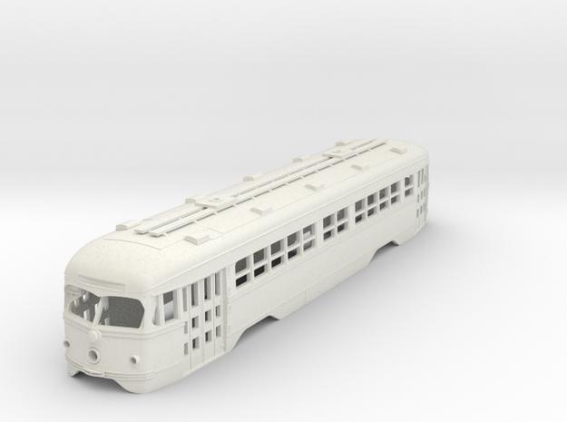O Scale 1:48 Double-End PCC MUNI BODY  in White Natural Versatile Plastic