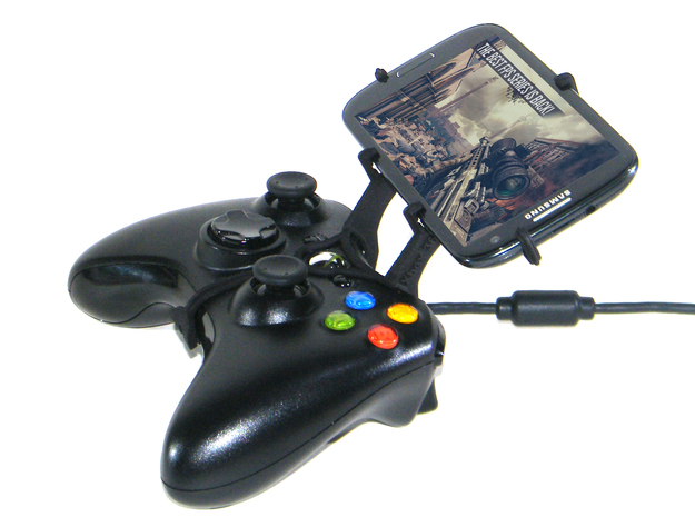 Xbox 360 controller & HTC Desire 601 3d printed Side View - A Samsung Galaxy S3 and a black Xbox 360 controller