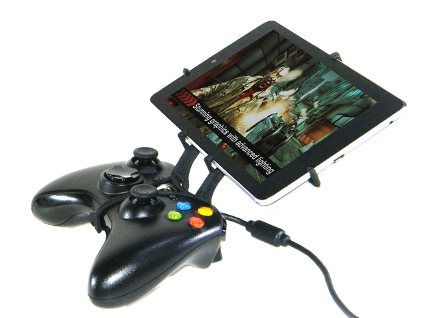 Xbox 360 controller & Samsung Galaxy Tab 2 10.1 P5 3d printed Side View - A Nexus 7 and a black Xbox 360 controller