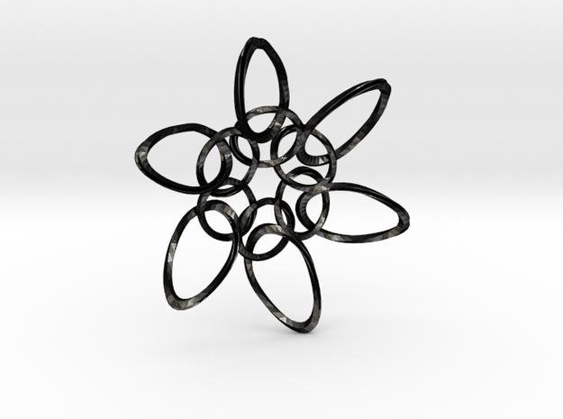 6 Ring PentaTwist  - 6.6cm in Matte Black Steel