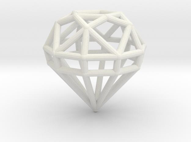 Gem Wire 5 Facets 3cm in White Natural Versatile Plastic