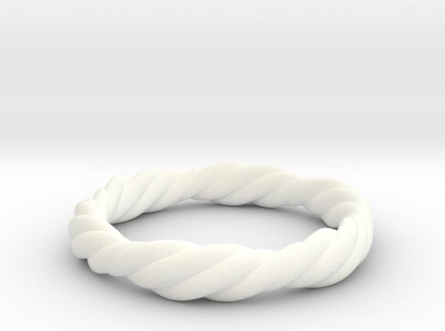 Twist Ring in White Processed Versatile Plastic