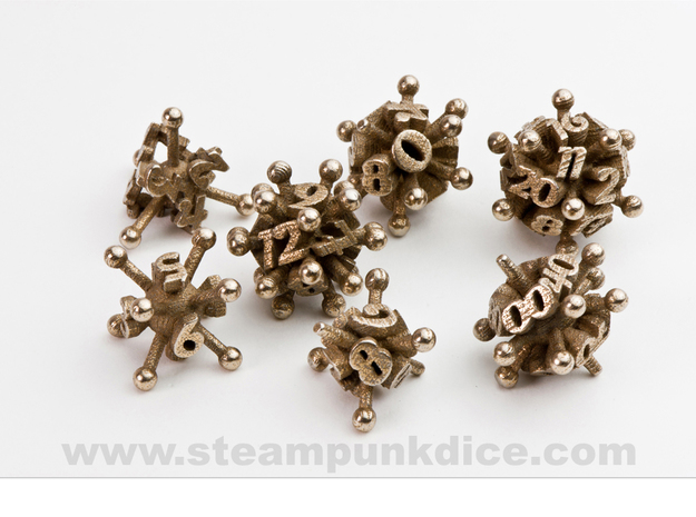 Jack Dice Set in Polished Bronzed Silver Steel