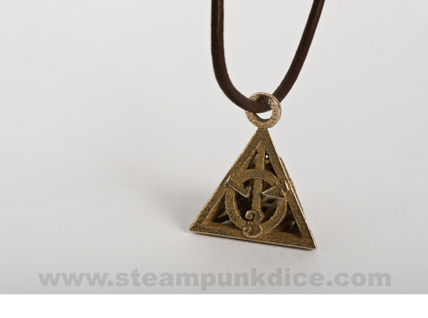 Deathly Hallows Pendant in Polished Bronzed Silver Steel