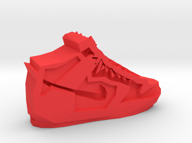 Geometric Basketball Shoe by Suprint in Red Processed Versatile Plastic