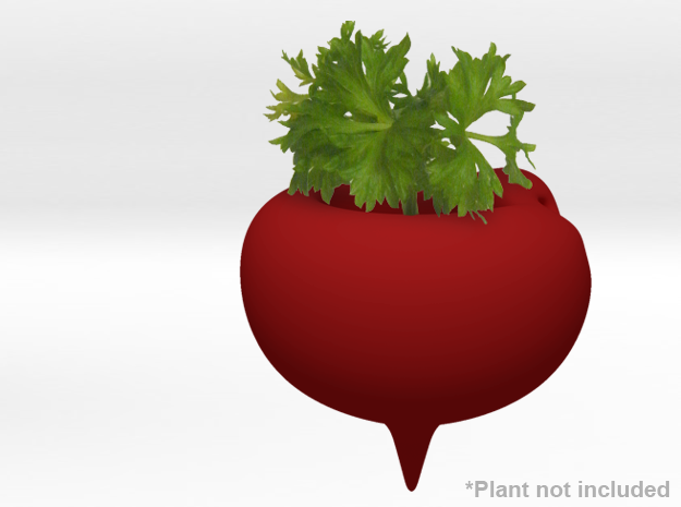 Beet Themed Necklace and Micro Plant Pot in White Strong & Flexible