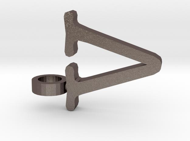 V Letter Pendant in Polished Bronzed Silver Steel