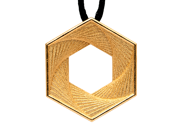 Hex Pendant in Polished Gold Steel