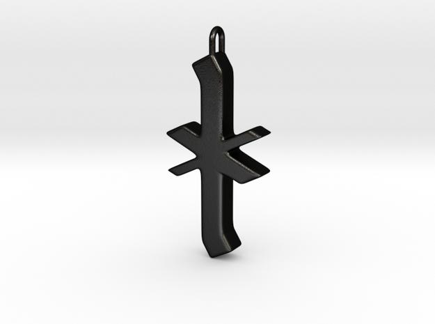 Rune Pendant - Īor in Matte Black Steel