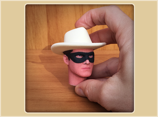 1:6 Scale Lone Ranger Head in Full Color Sandstone