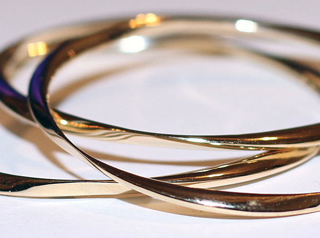 Twisted Bangle Bracelet LARGE in Polished Brass