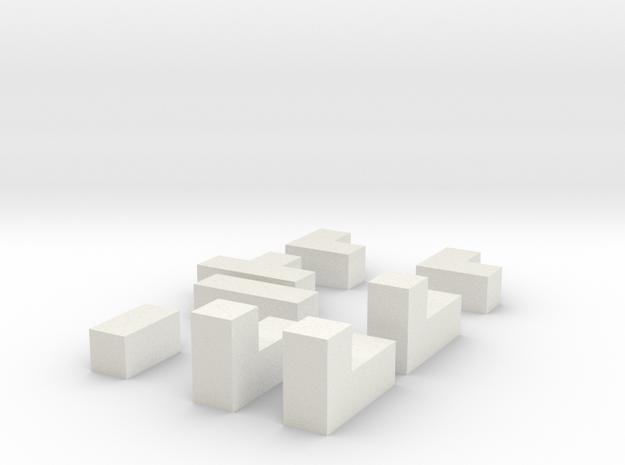 3d Puzzle Straight in White Natural Versatile Plastic