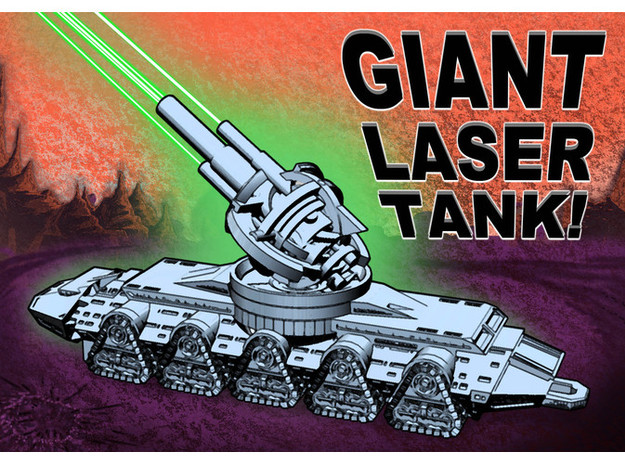 GIANT LASER TANK!!! (1 foot long!) in White Natural Versatile Plastic