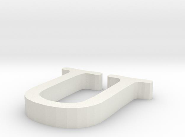U Letter in White Natural Versatile Plastic