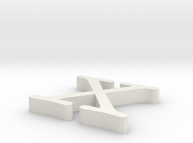 X Letter in White Natural Versatile Plastic