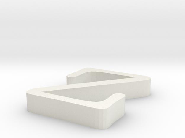 Z Letter in White Natural Versatile Plastic