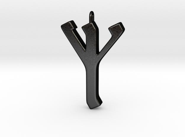 Rune Pendant - Eolh in Matte Black Steel