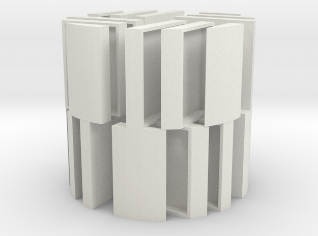 MB Cylinder Version Positive Hollowed X 4 in White Natural Versatile Plastic