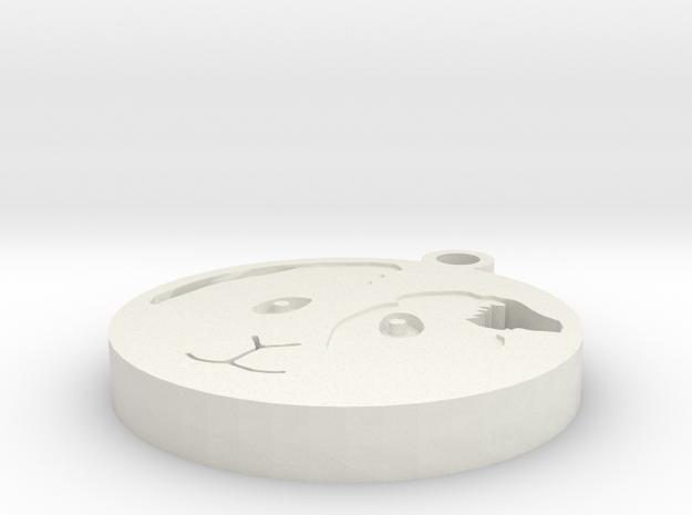 Shorthair Guinea Pig Pendant in White Natural Versatile Plastic