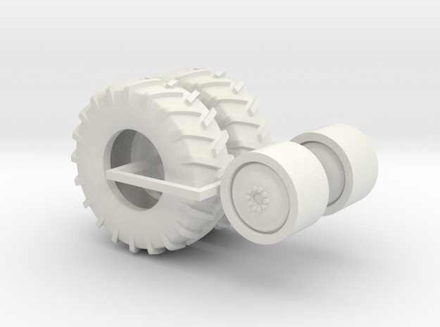 1:64 scale 18.4-26 Gleaner Wheel And Tire Assembly in White Natural Versatile Plastic