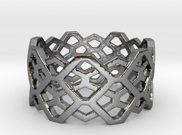 Hexagon ring - size 7.25 in Premium Silver