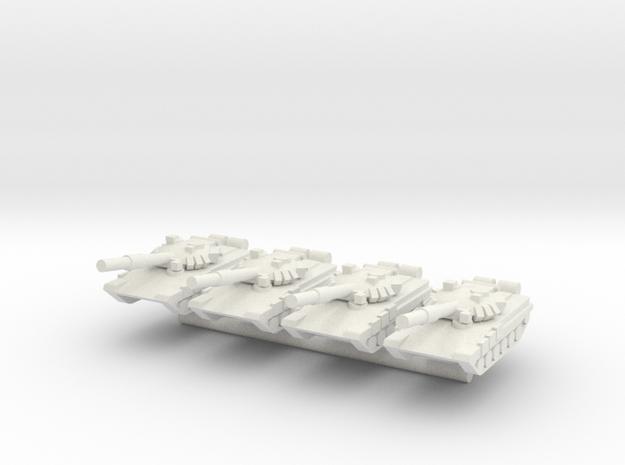 1/285 T-90 Main Battle Tank (x4) in White Natural Versatile Plastic